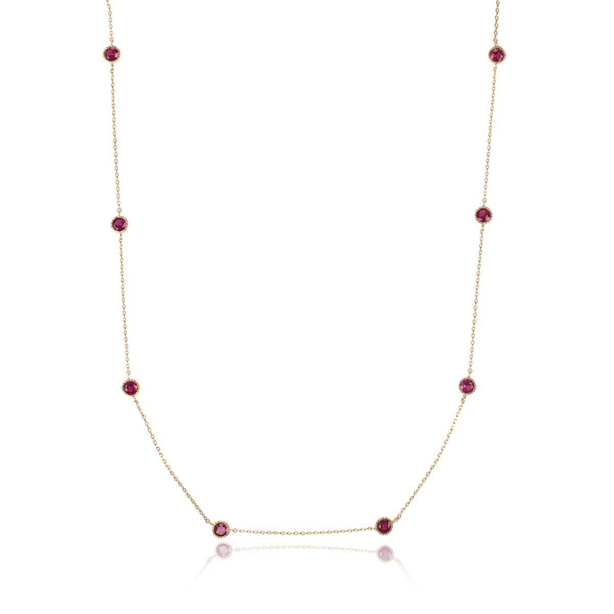 Colar Longo de Zircônia Rubi Redonda Semijoia em Ouro 18K  - Soloyou