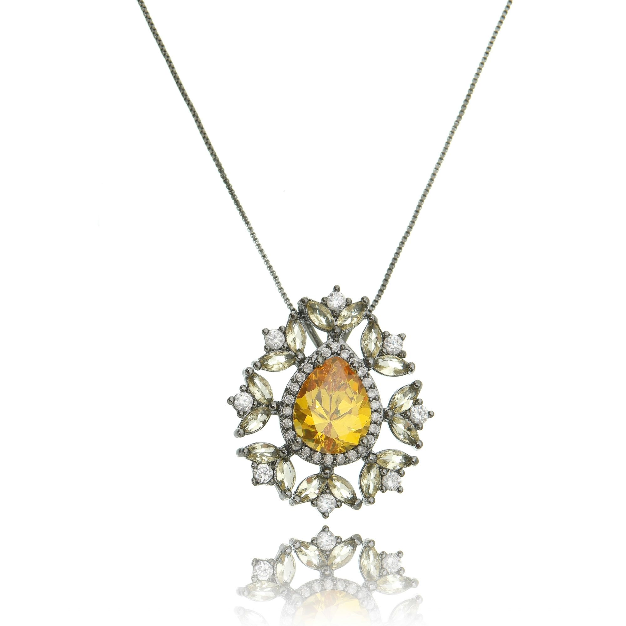 Colar Luxuoso Ródio Negro Gota Amarela e Zircônia Cristal Semijoia Fashion  - Soloyou