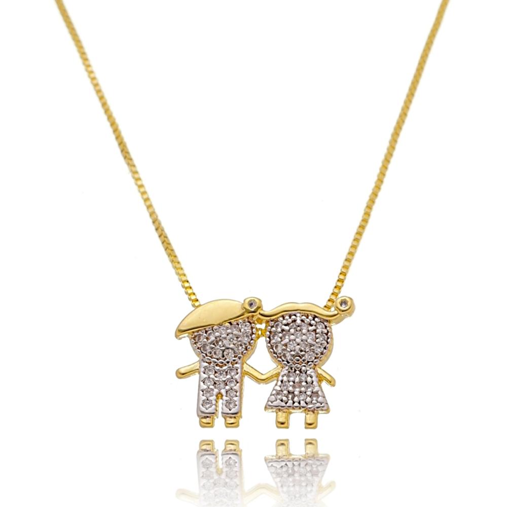 Colar Mãe de Menina e Menino de Zircônia Branca Semijoia Ouro 18K  - Soloyou