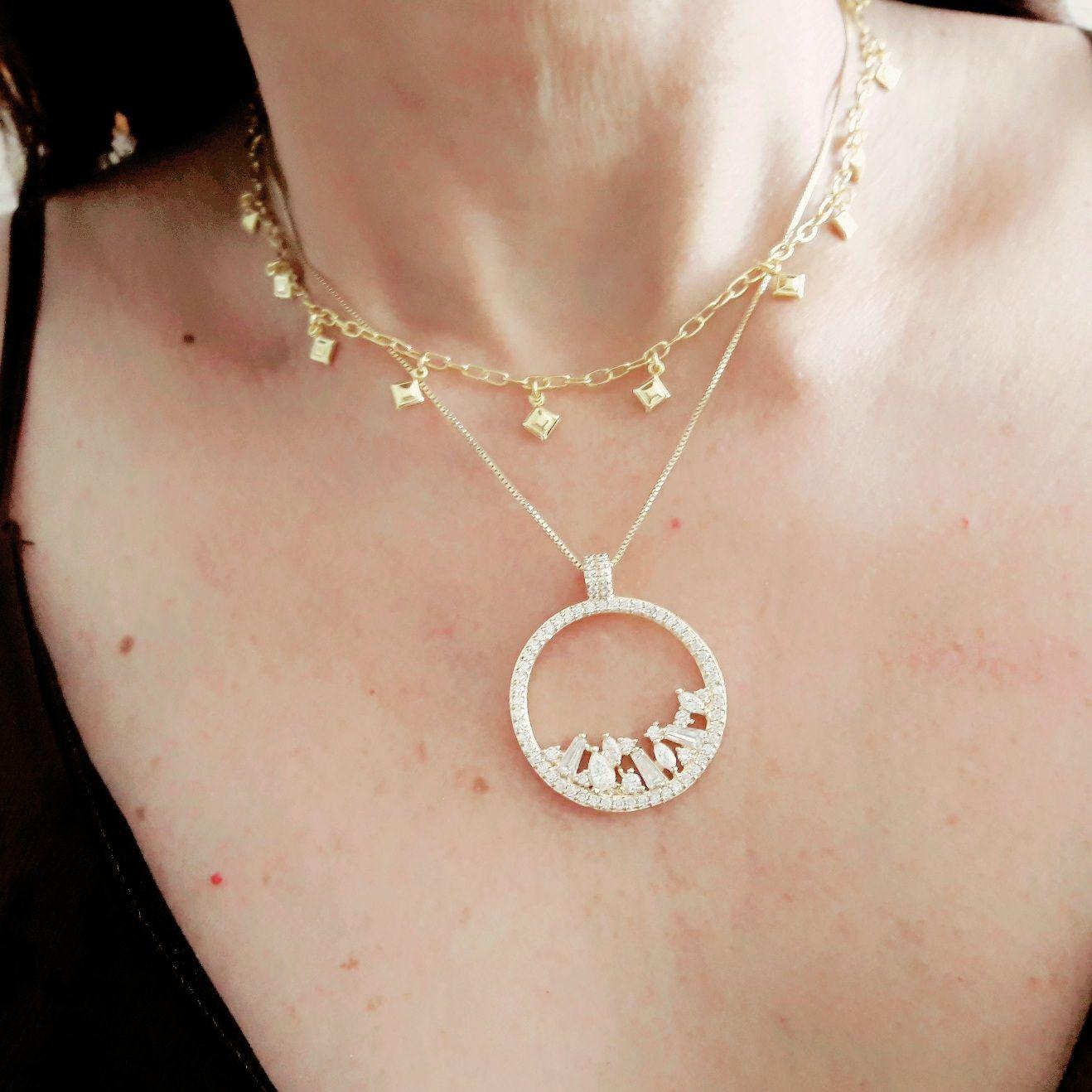 Colar Mandala Curto Semijoia em Ouro 18K com Zircônia Branca  - Soloyou