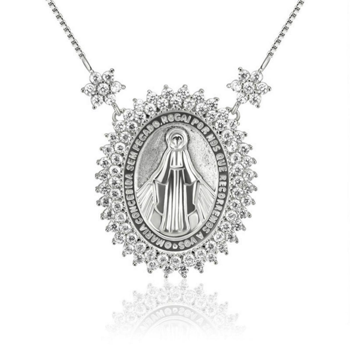 Colar Medalha de Nossa Senhora das Graças Grande Semijoia em Ródio Branco com Zircônia Branca  - Soloyou
