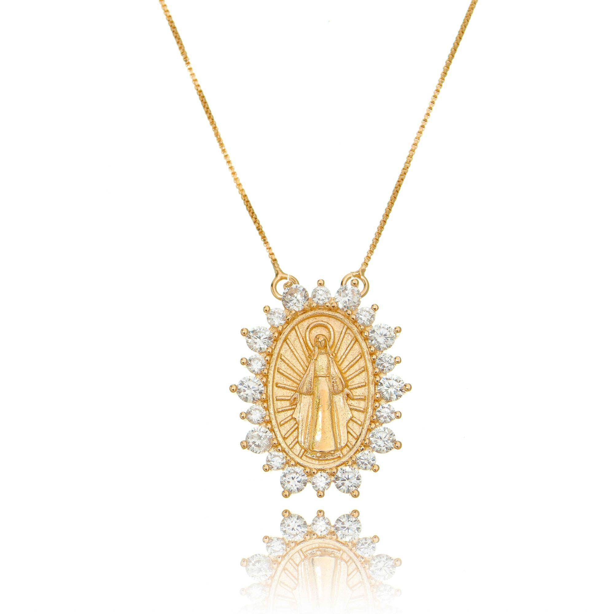 Colar Medalha Milagrosa de Nossa Senhora das Graças Ouro Rosé Zircônia Branca Semijoia  - Soloyou