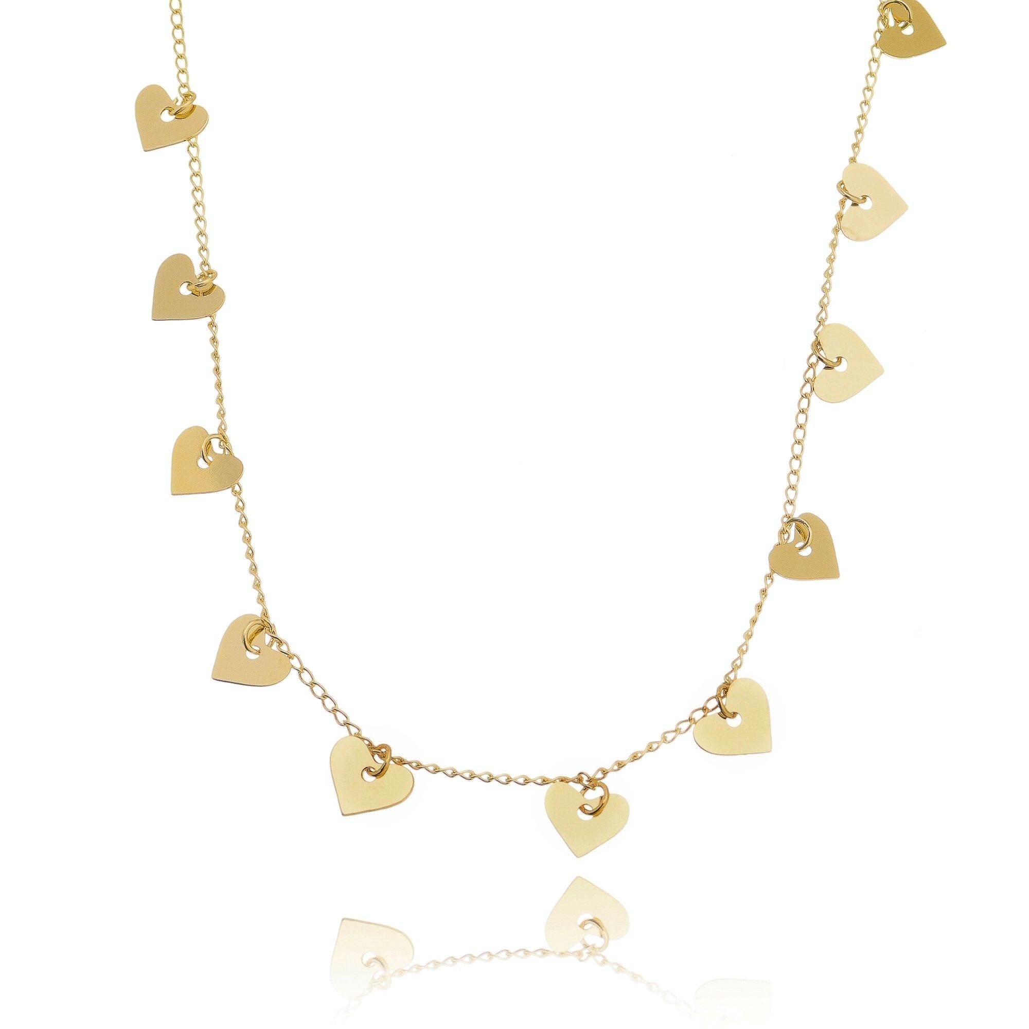Colar Medalhas Coração Dourado Semijoia da Moda em Ouro 18K  - Soloyou