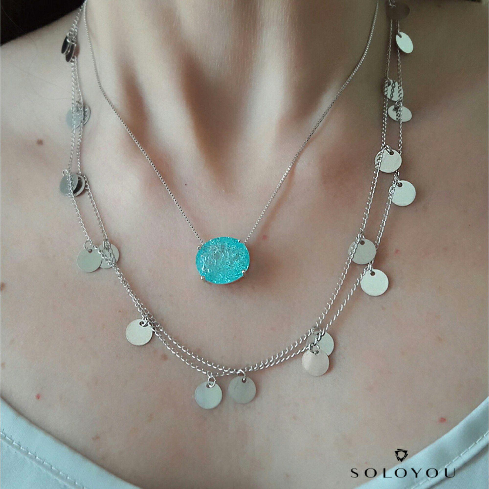 Colar Medalhinhas Redondas Thassia Semijoia da Moda em Ródio Branco  - Soloyou