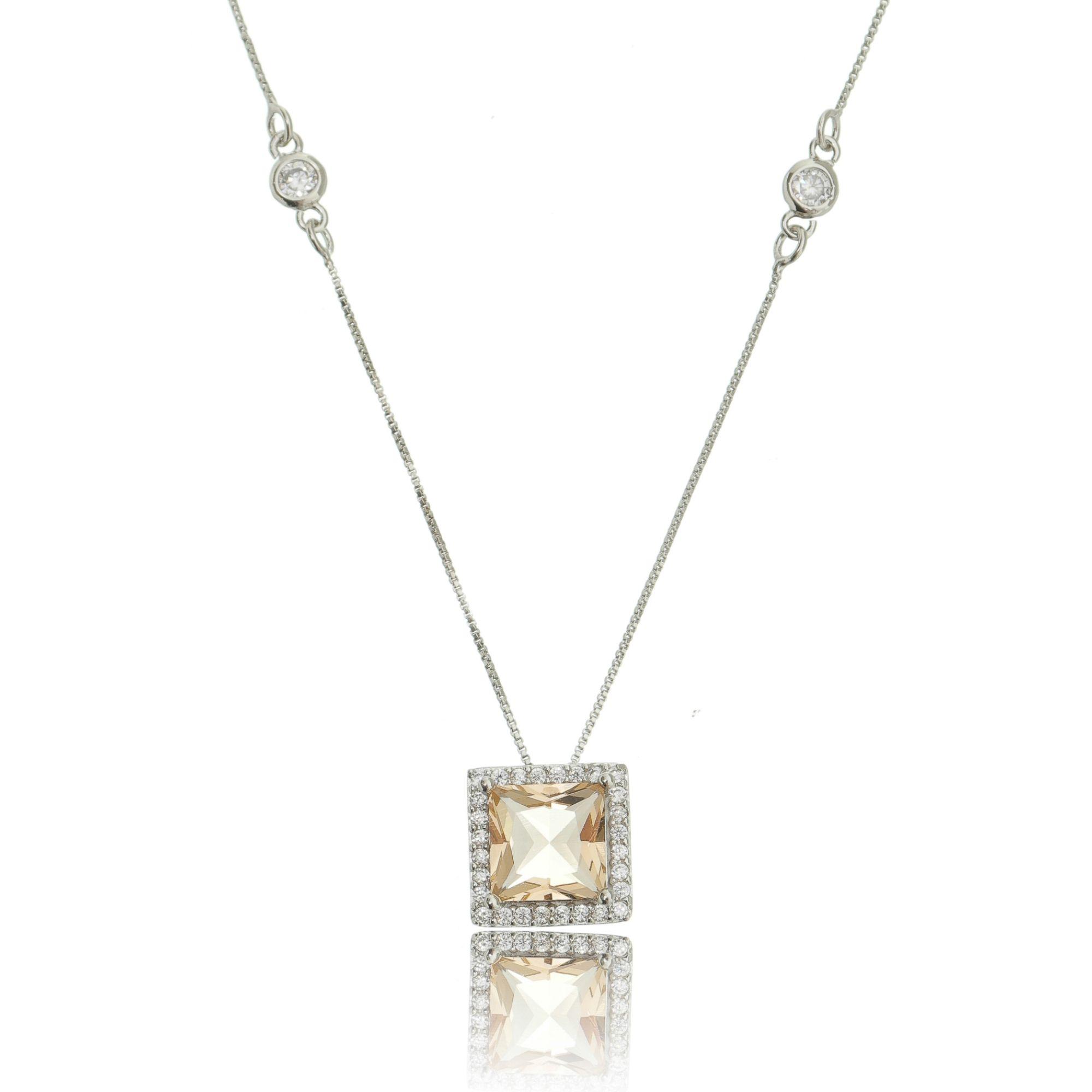 Colar Morganita com Zircônia Cristal Corrente 4 Pontos de Luz Semijoia Ródio Branco  - Soloyou