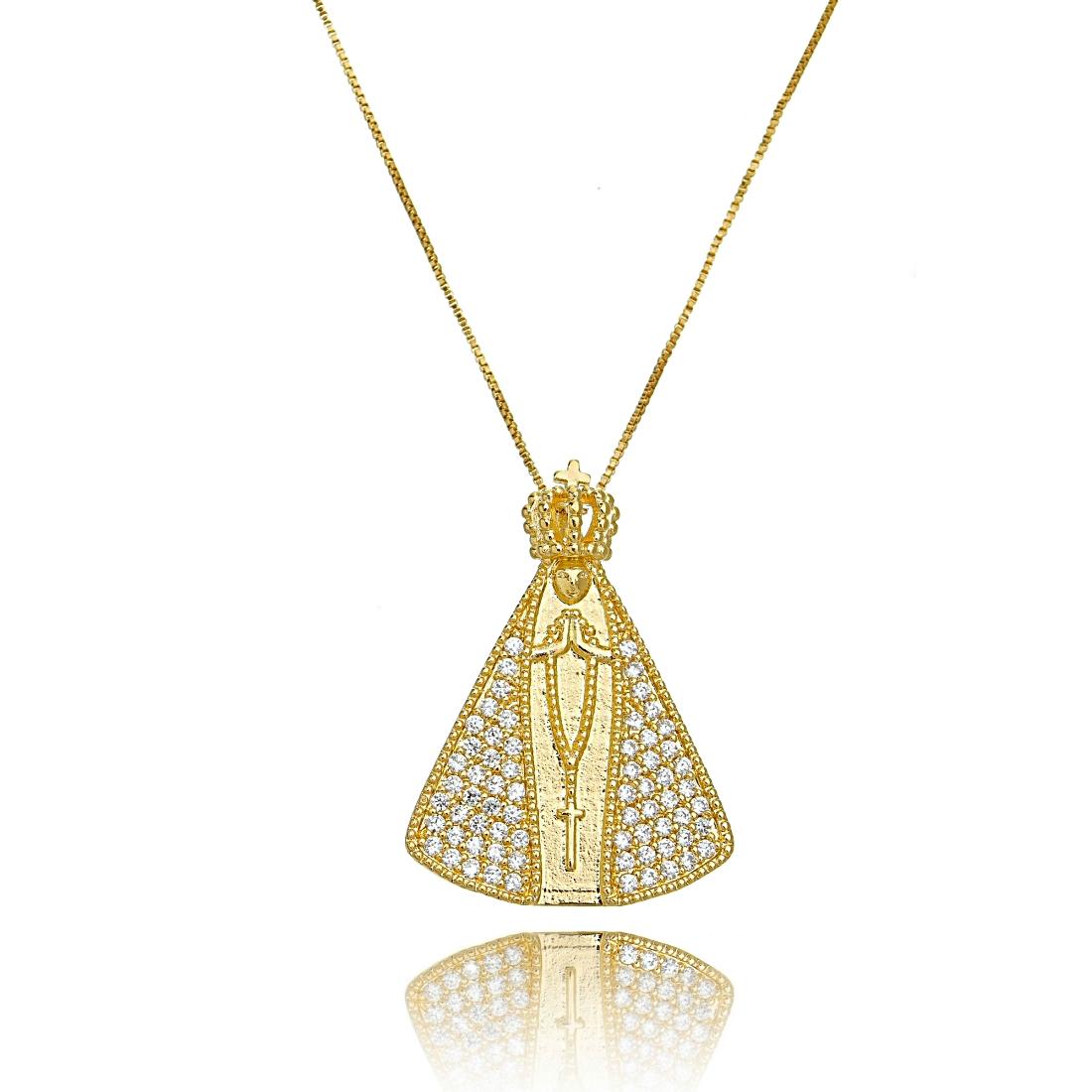 Colar Nossa Senhora Aparecida Dourado Grande Micro Zircônia Cristal Semijoia em Ouro  - Soloyou