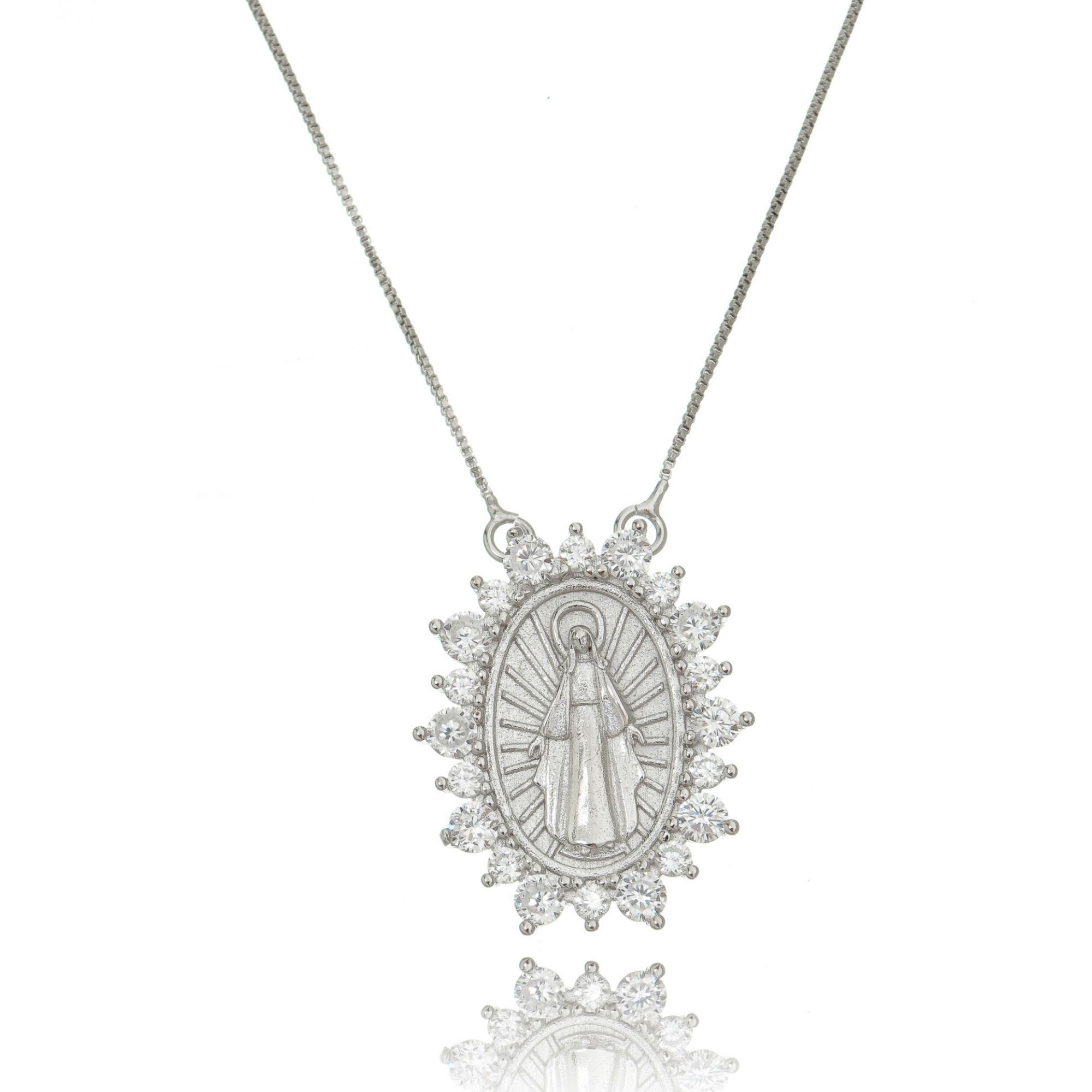 Colar Nossa Senhora das Graças Prata com Zircônia Cristal Semijoia em Ródio Branco  - Soloyou