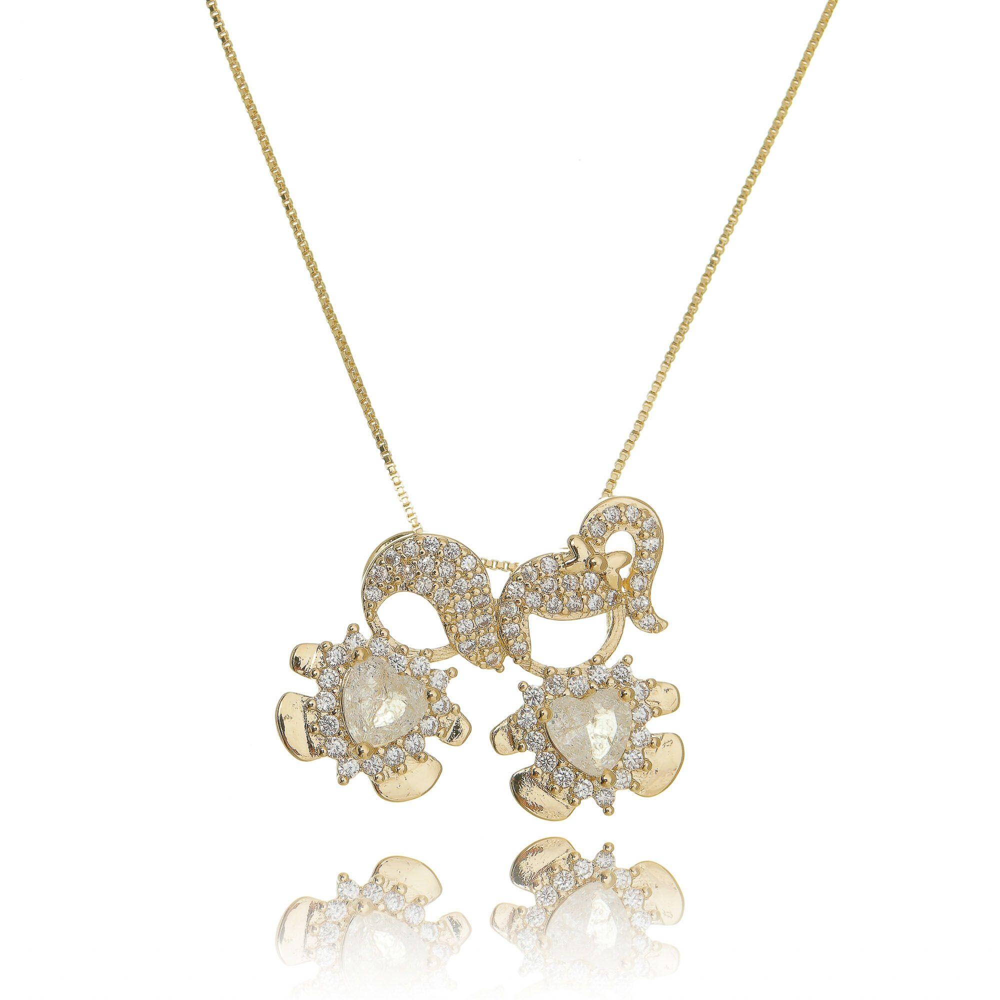 Colar Pingente 1 Menina e 1 Menino de Zircônia e Pedra Fusion Cristal Semijoia Ouro 18K  - Soloyou
