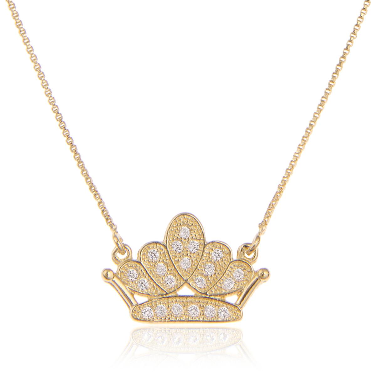 Colar Pingente Coroa Semijoia Ouro 18K com Zircônia Branca  - Soloyou