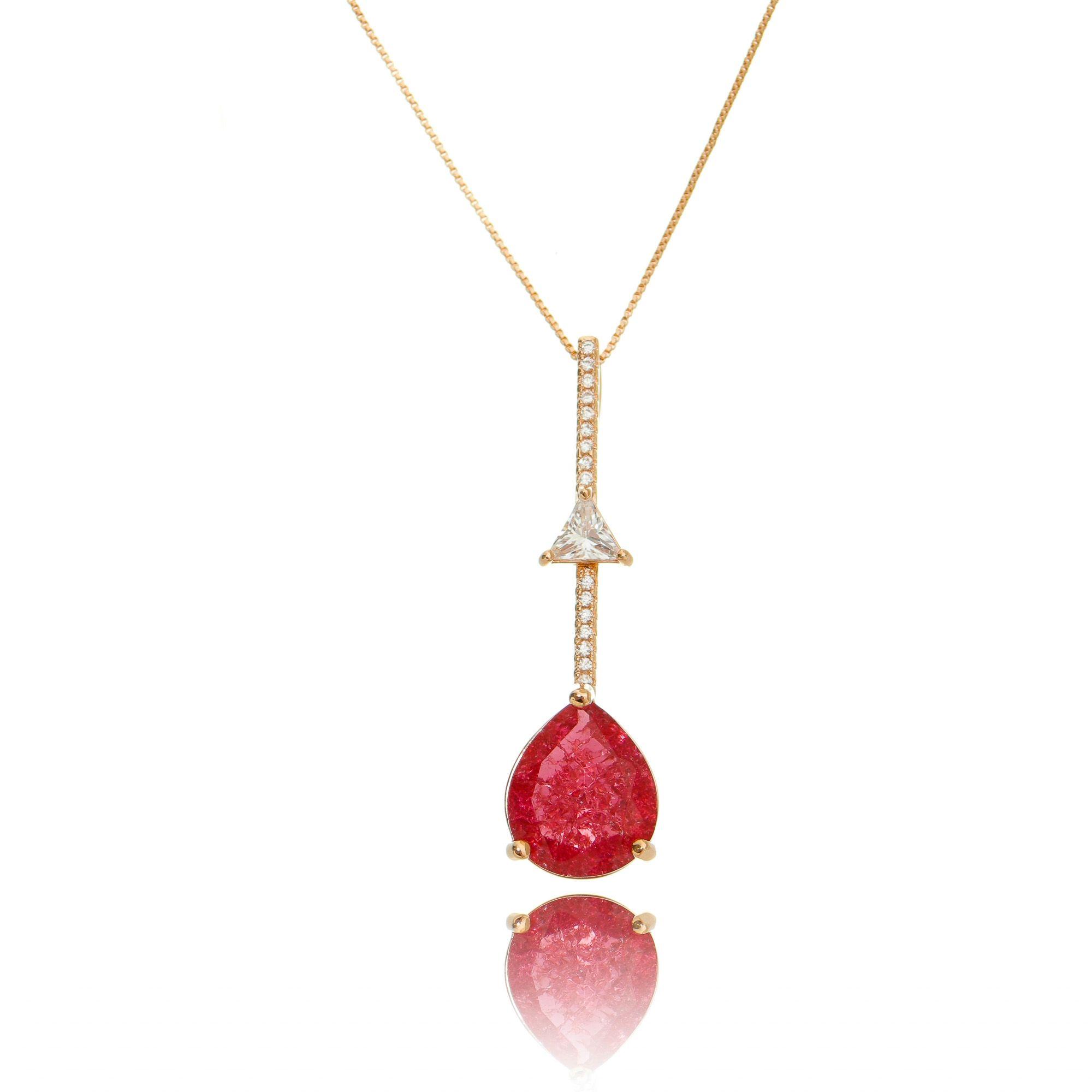 Colar Pingente Cristal Zircônia e Gota Rubi Fusion Semijoia Exclusiva em Ouro Rosé  - Soloyou