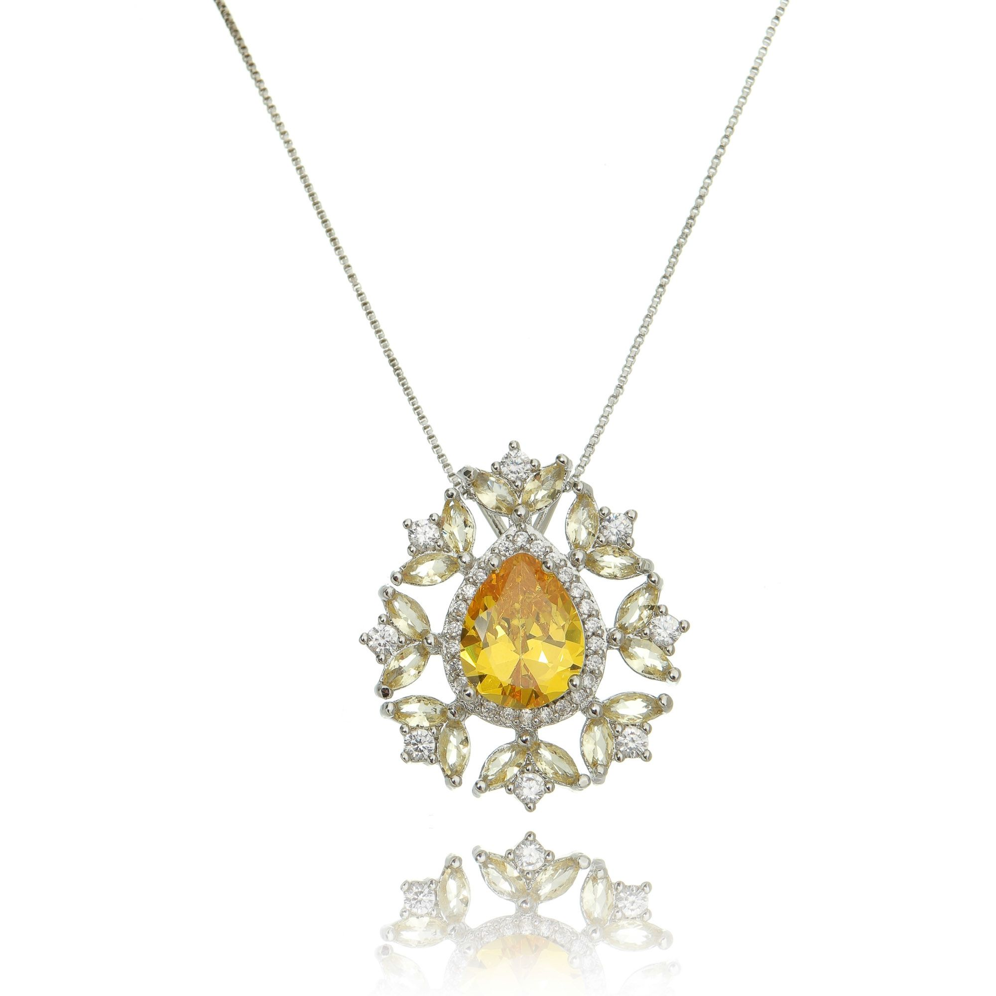 Colar Pingente de Gota Amarela e Zircônia Cristal Semijoia Luxo Ródio Branco  - Soloyou