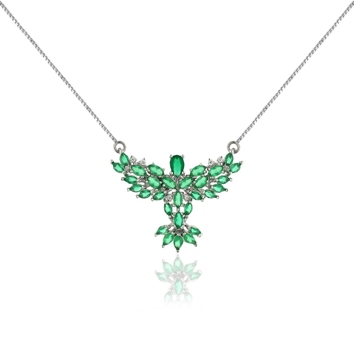 Colar Pingente Espírito Santo Semijoia em Ródio Branco com Cristal Esmeralda e Micro Zircônia Branca  - Soloyou