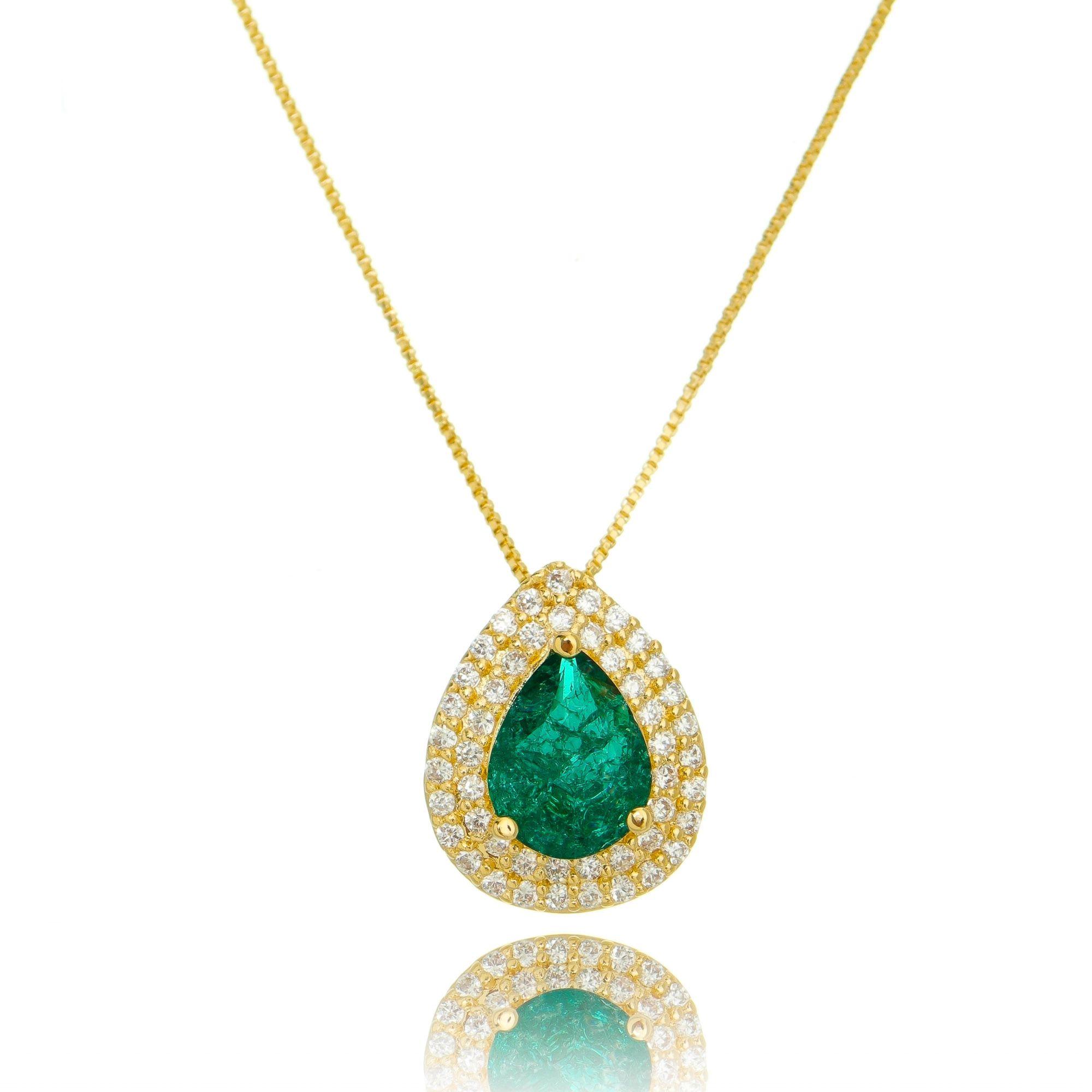 Colar Pingente Fusion Esmeralda e Zircônia Cristal Gota Semijoia Ouro  - Soloyou