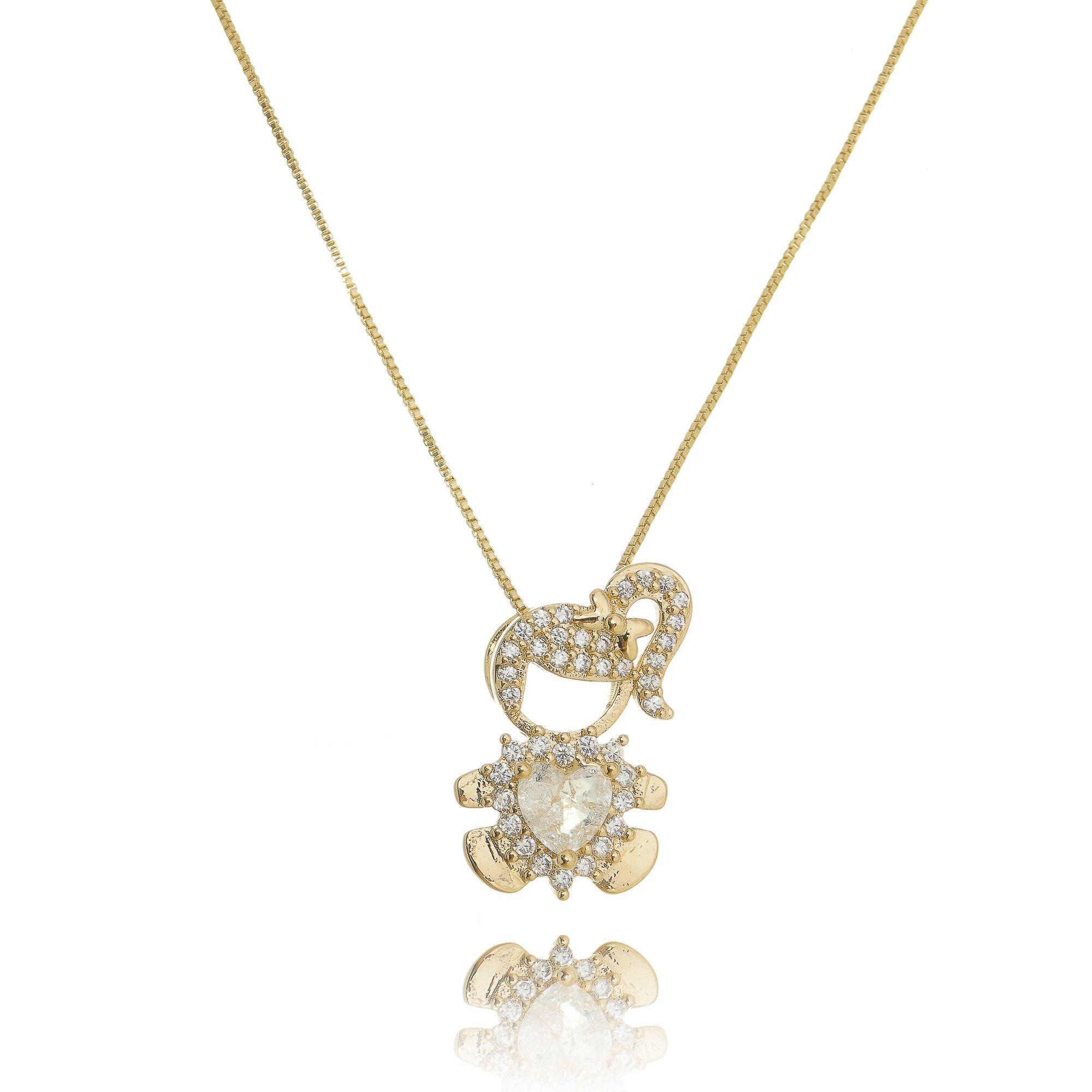 Colar Pingente Menina de Zircônia Branca e Coração Fusion Cristal Semijoia em Ouro 18K  - Soloyou