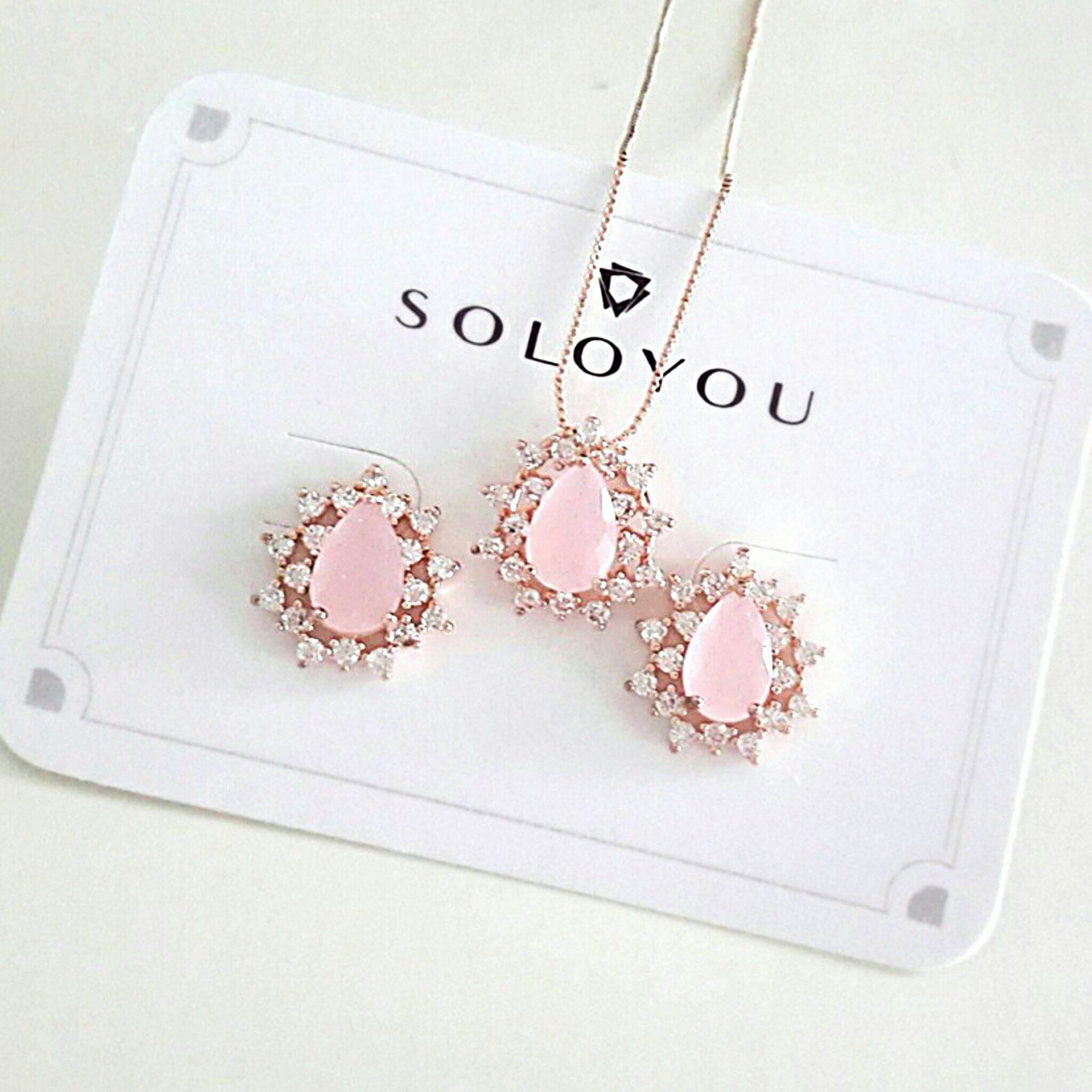 Colar Pingente Ouro Rosé Gota Rosa Semijoia Fina  - Soloyou