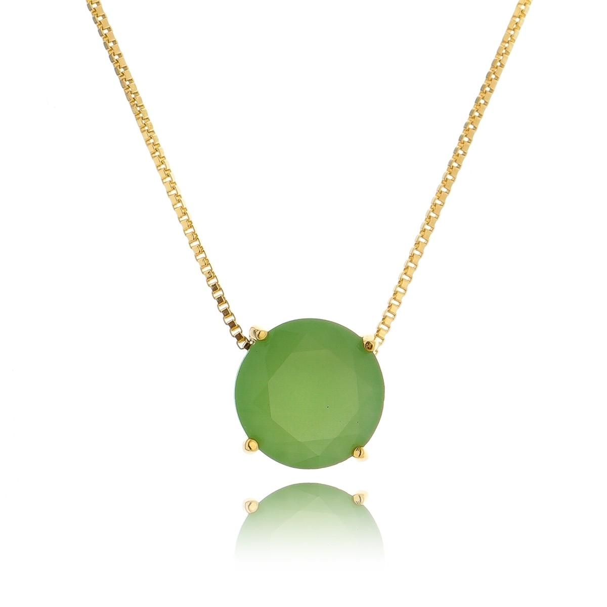 Colar Pingente Redondo Verde Semijoia em Ouro 18K  - Soloyou