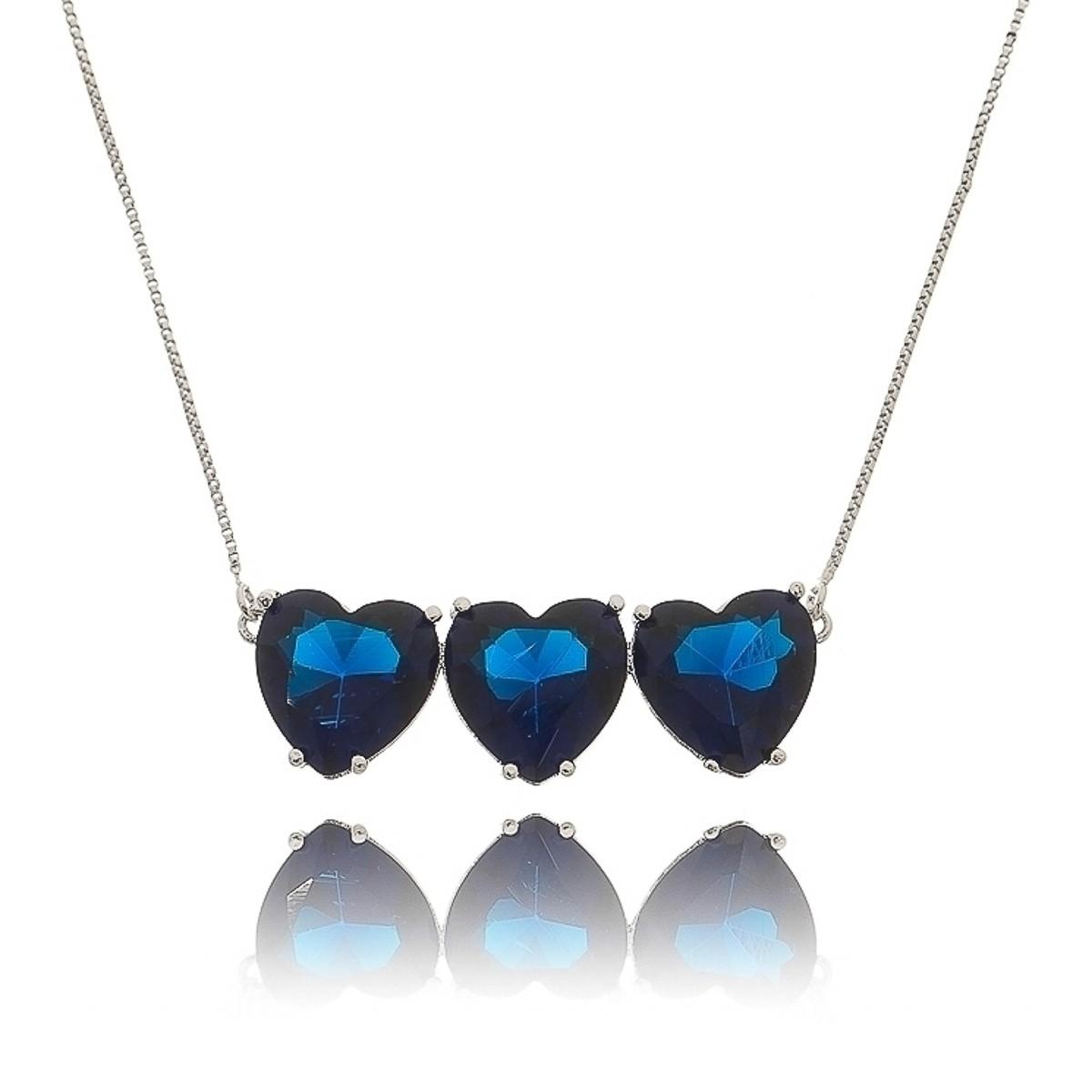 Colar Pingentes Coração Triplo Azul Safira Semijoia em Ródio Branco com Zircônia  - SOLOYOU