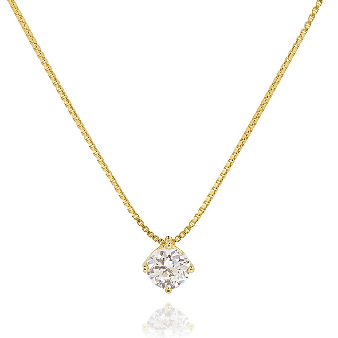 Colar Ponto de Luz Grande Semijoia em Ouro 18K com Zircônia Branca  - Soloyou