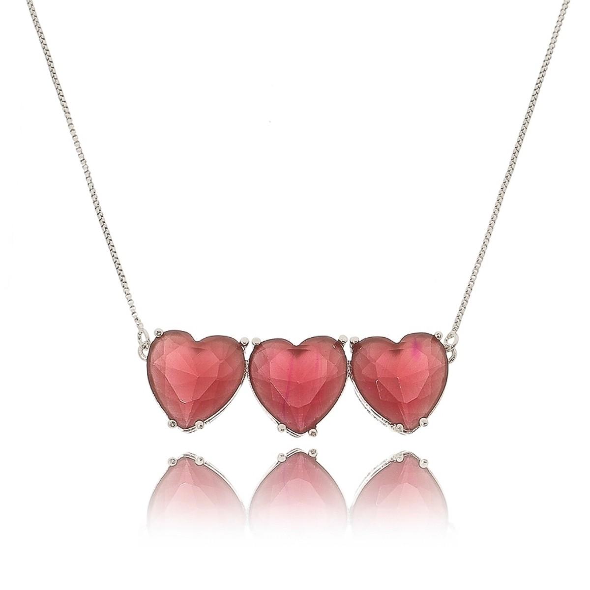 Colar Prata 3 Corações Rubi Vermelho Semijoia em Ródio Branco  - Soloyou