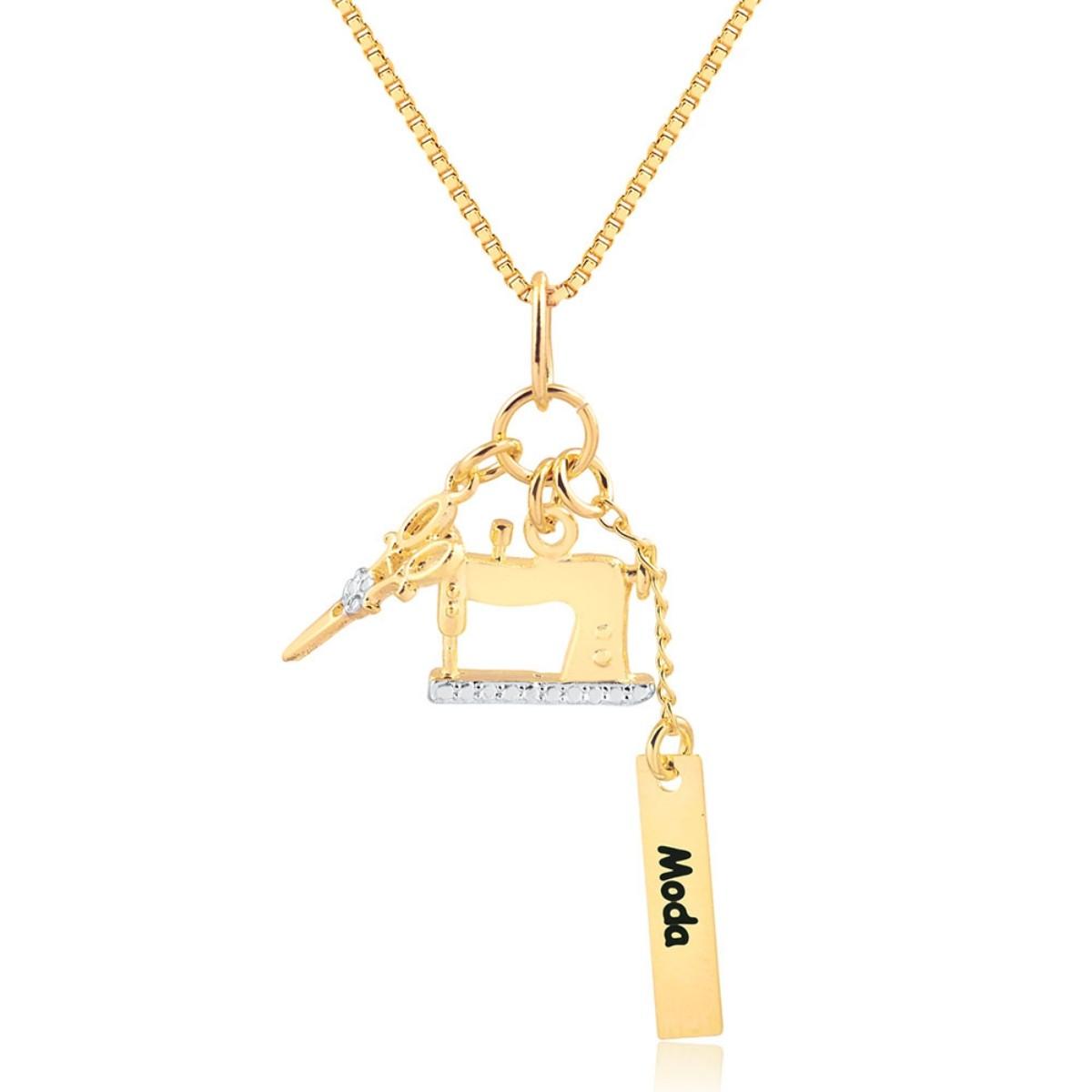 Colar Profissão Moda Semijoia Fina em Ouro 18K   - Soloyou
