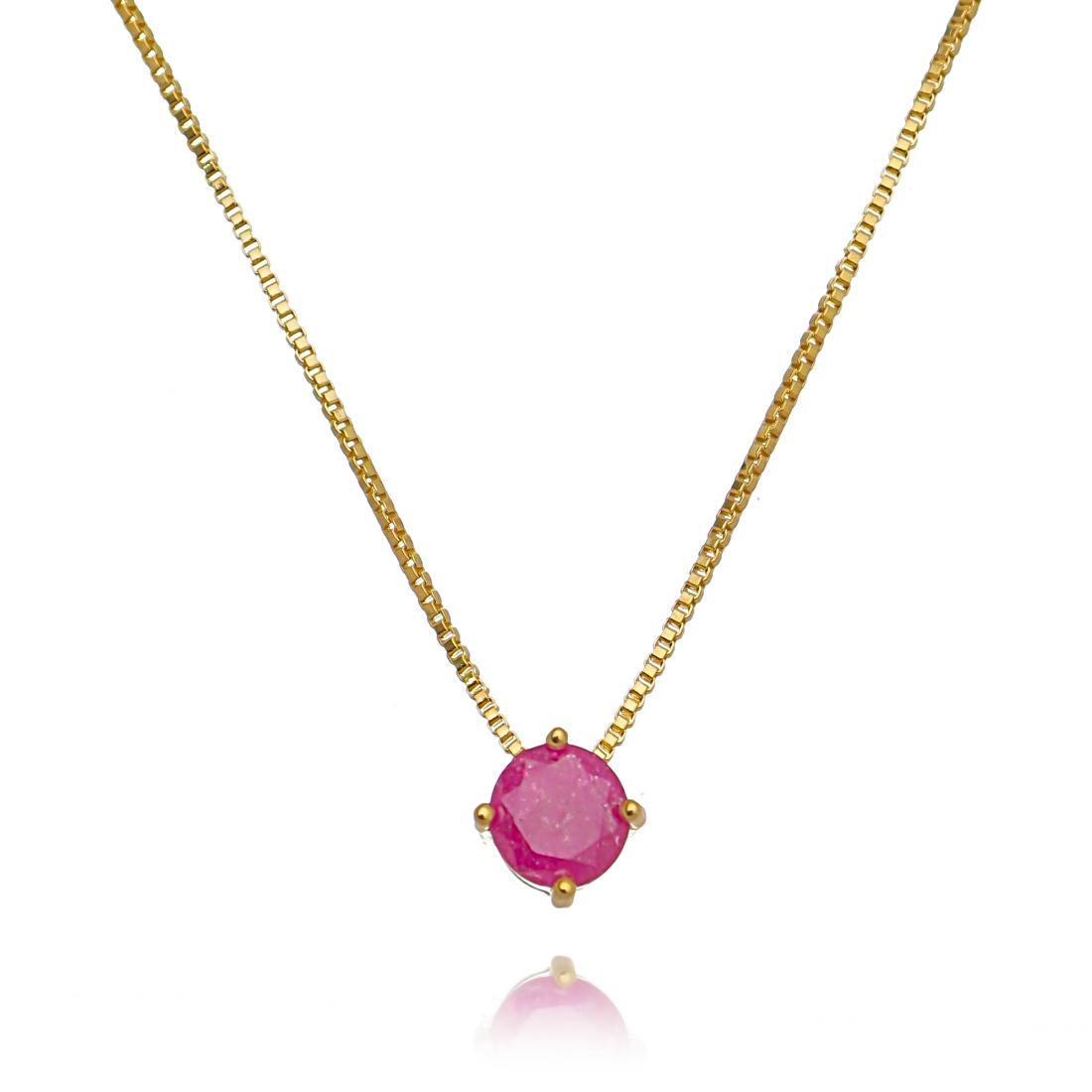 Colar Redondo Rosa Fusion Semijoia Online em Ouro  - Soloyou