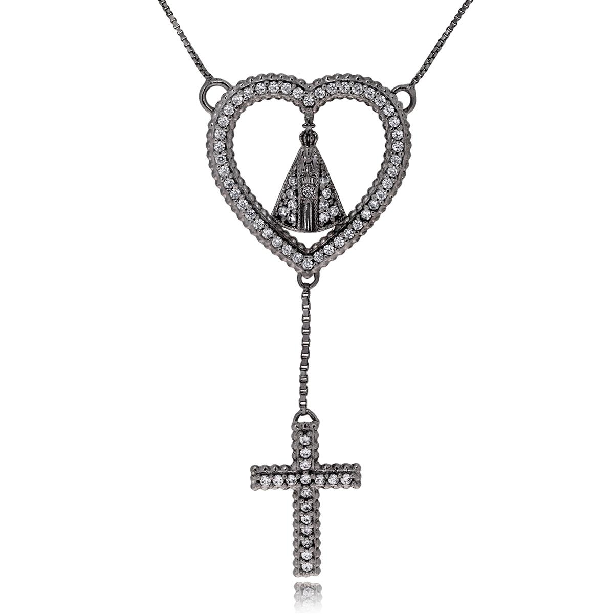 Colar Religioso Nossa Senhora Aparecida Semijoia em Ródio Negro com Micro Zircônia Branca  - Soloyou