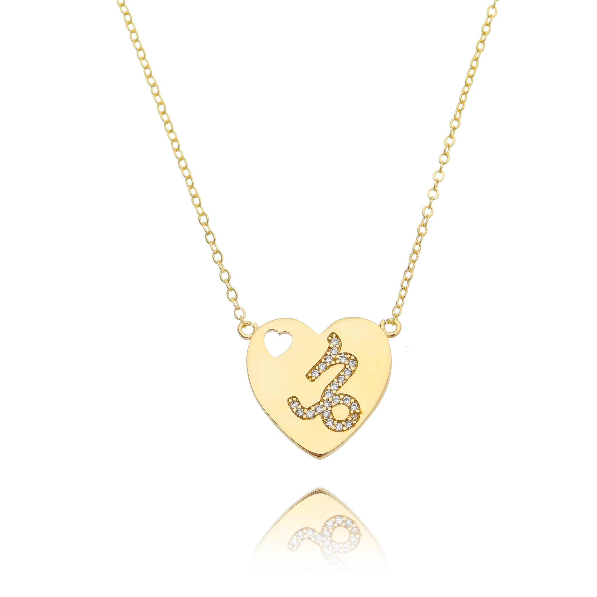 Colar Signo Capricórnio Dourado com Zircônia Branca Semijoia Luxo Ouro  - Soloyou