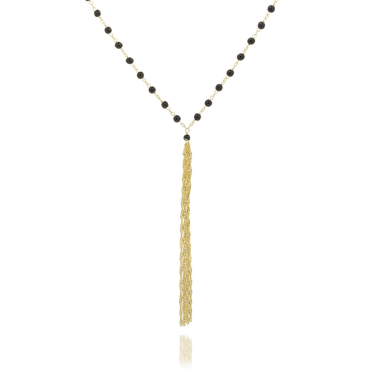 Colar Tassel Longo Semijoia em Ouro 18K com Cristal Ônix  - Soloyou