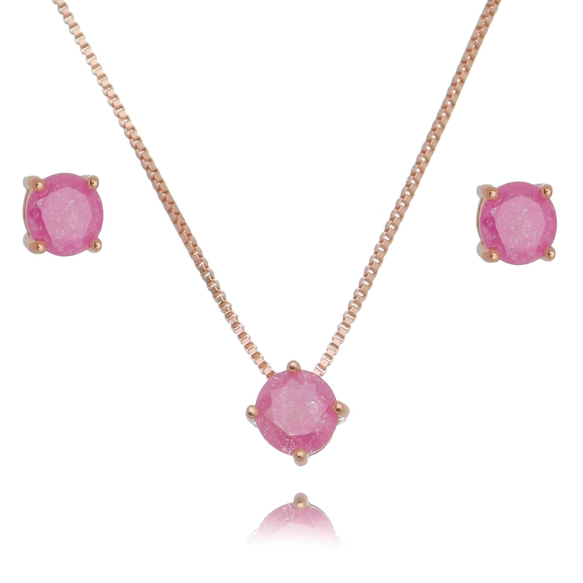 Conjunto Brinco e Colar Ponto de Luz Ouro Rosé Fusion Rosa Semijoia  - Soloyou