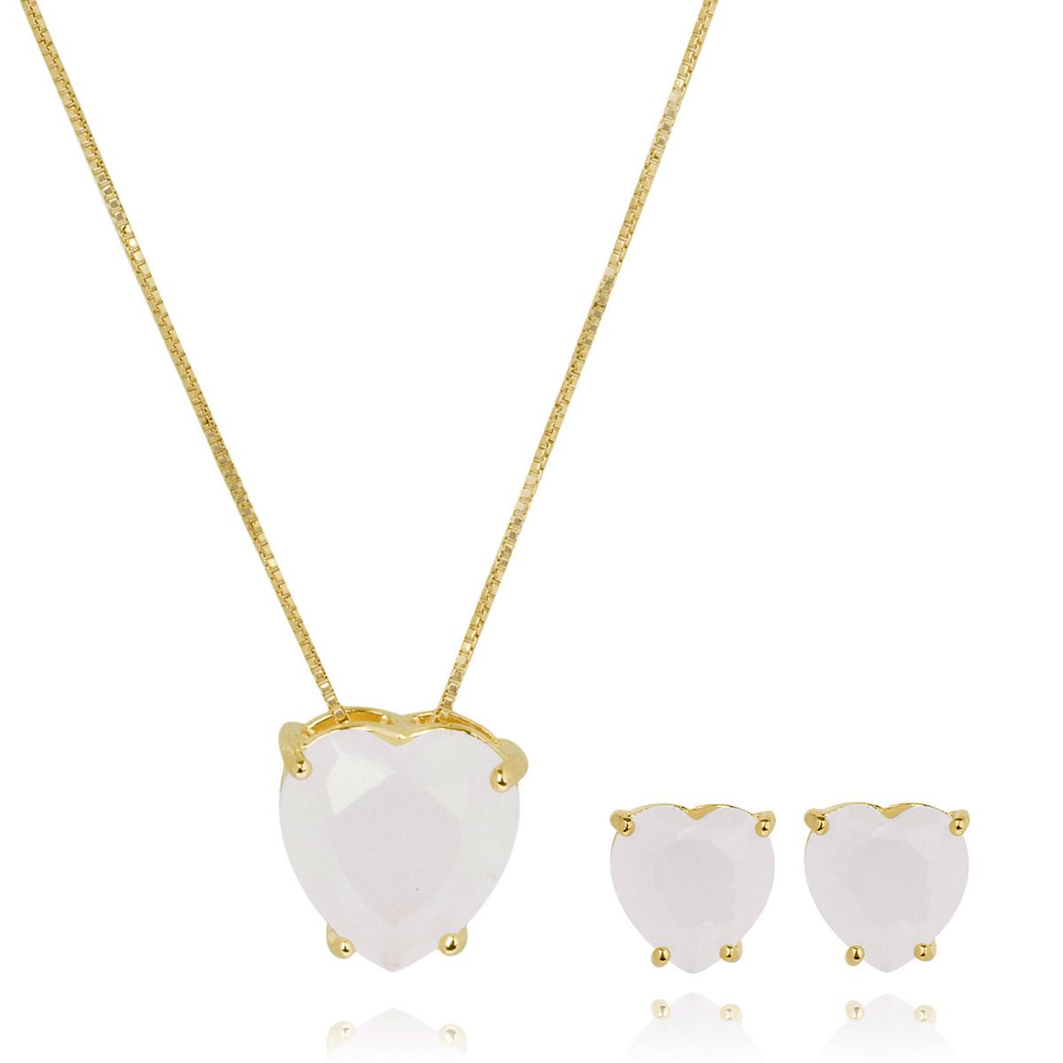 Conjunto de Brinco e Colar de Coração Quartzo Branco Leitoso Semijoia em Ouro 18K  - Soloyou