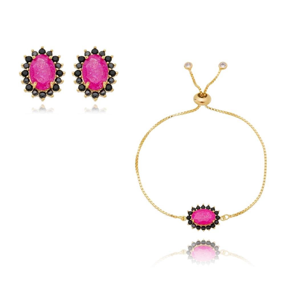 Conjunto Soloyou Brinco e Pulseira Oval Rosa Fusion Semijoia Ouro 18K  - Soloyou