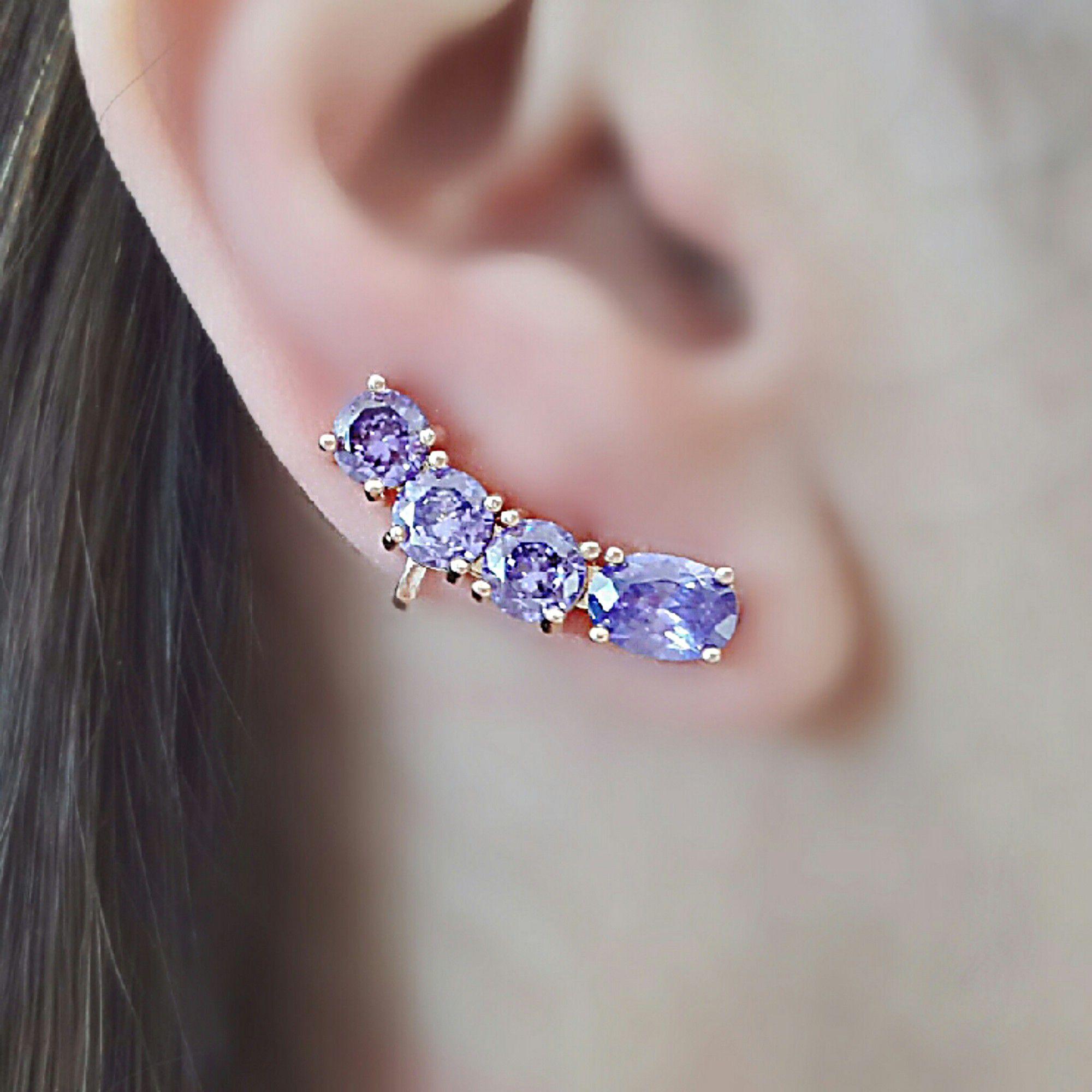 Ear Cuff Ametista Premium com Garra Semijoia Ouro Rosé  - Soloyou