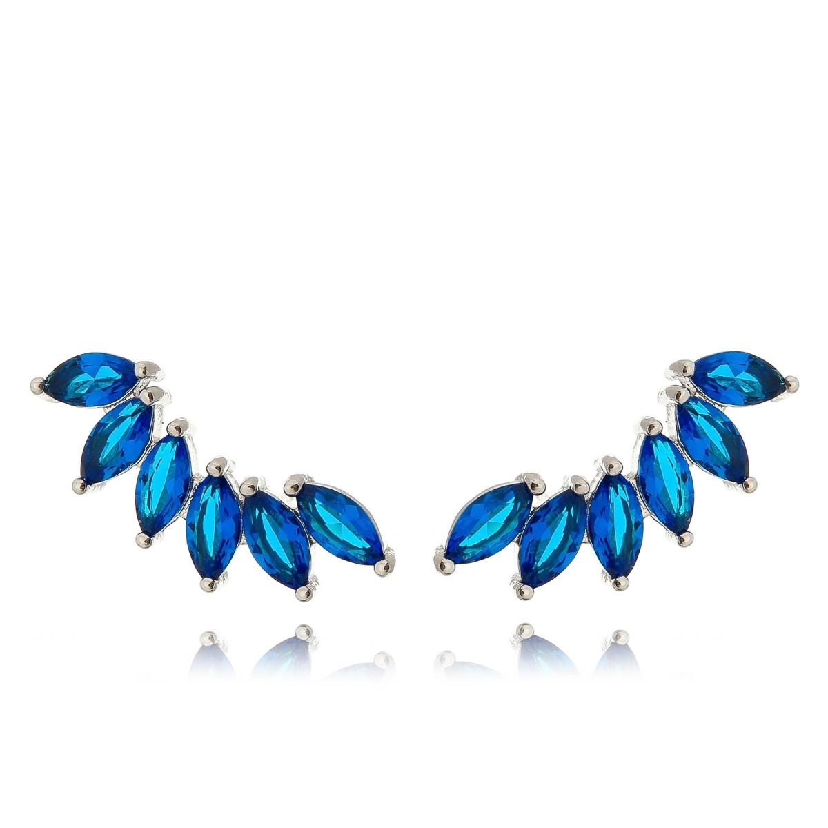 Ear Cuff Azul Safira Semijoia em Ródio Branco com Zircônia  - Soloyou