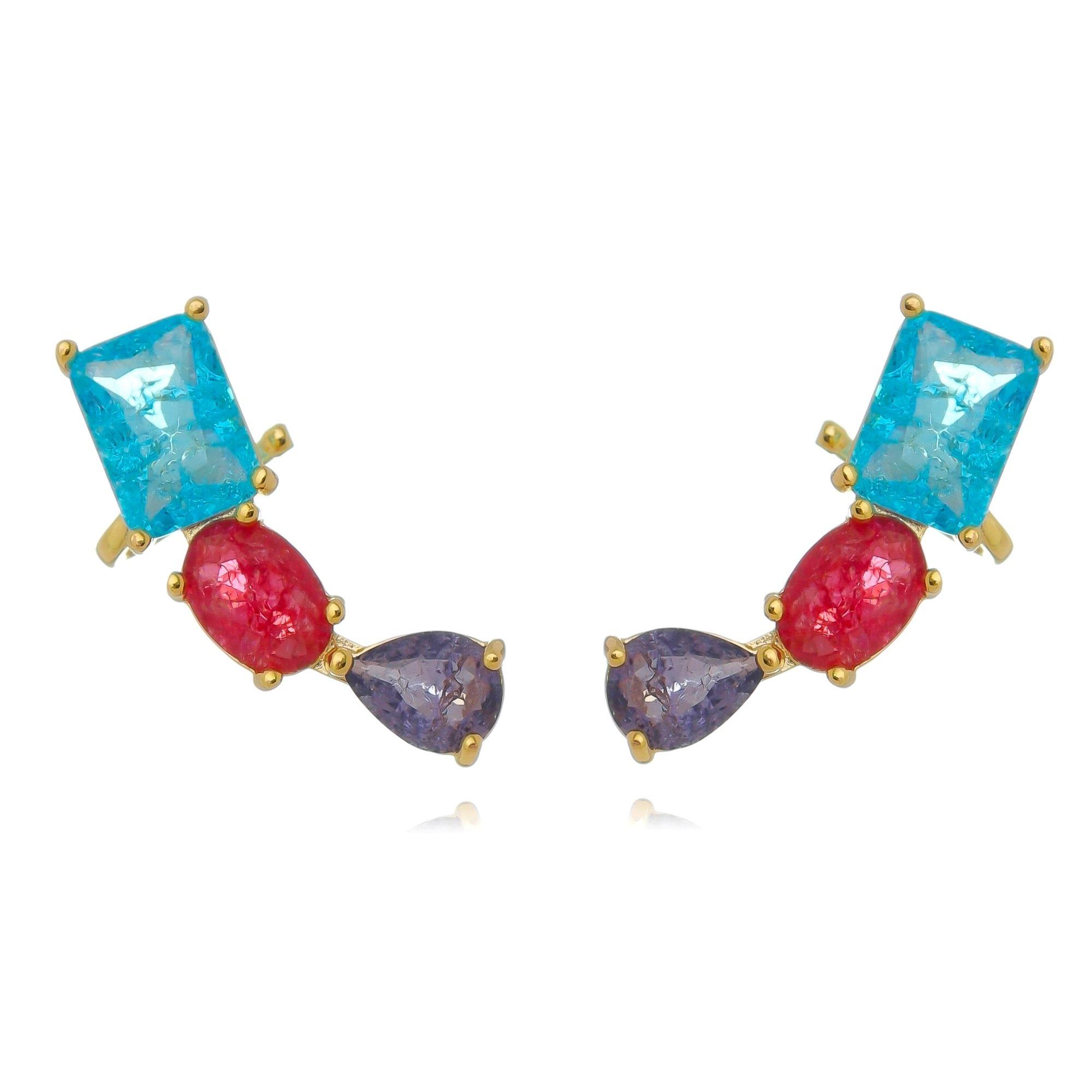 Ear Cuff Colorido Fusion com Garra Semijoia Fashion Ouro  - Soloyou