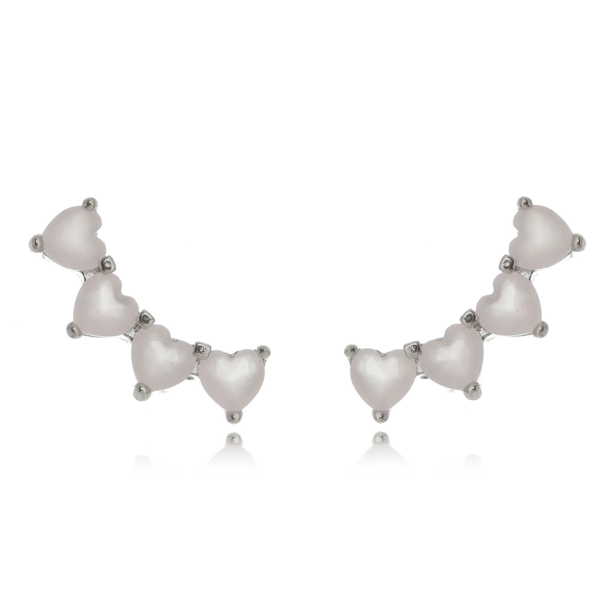 Ear Cuff da Moda Mini Corações Rosa Semijoia em Ródio Branco  - Soloyou
