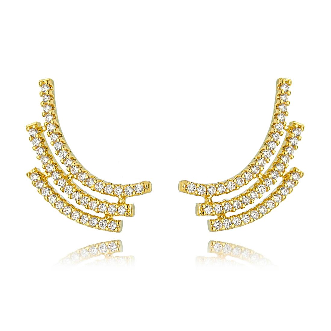 Ear Cuff Dourado Cravejado Zircônias Cristal Semijoia Fina Ouro  - Soloyou
