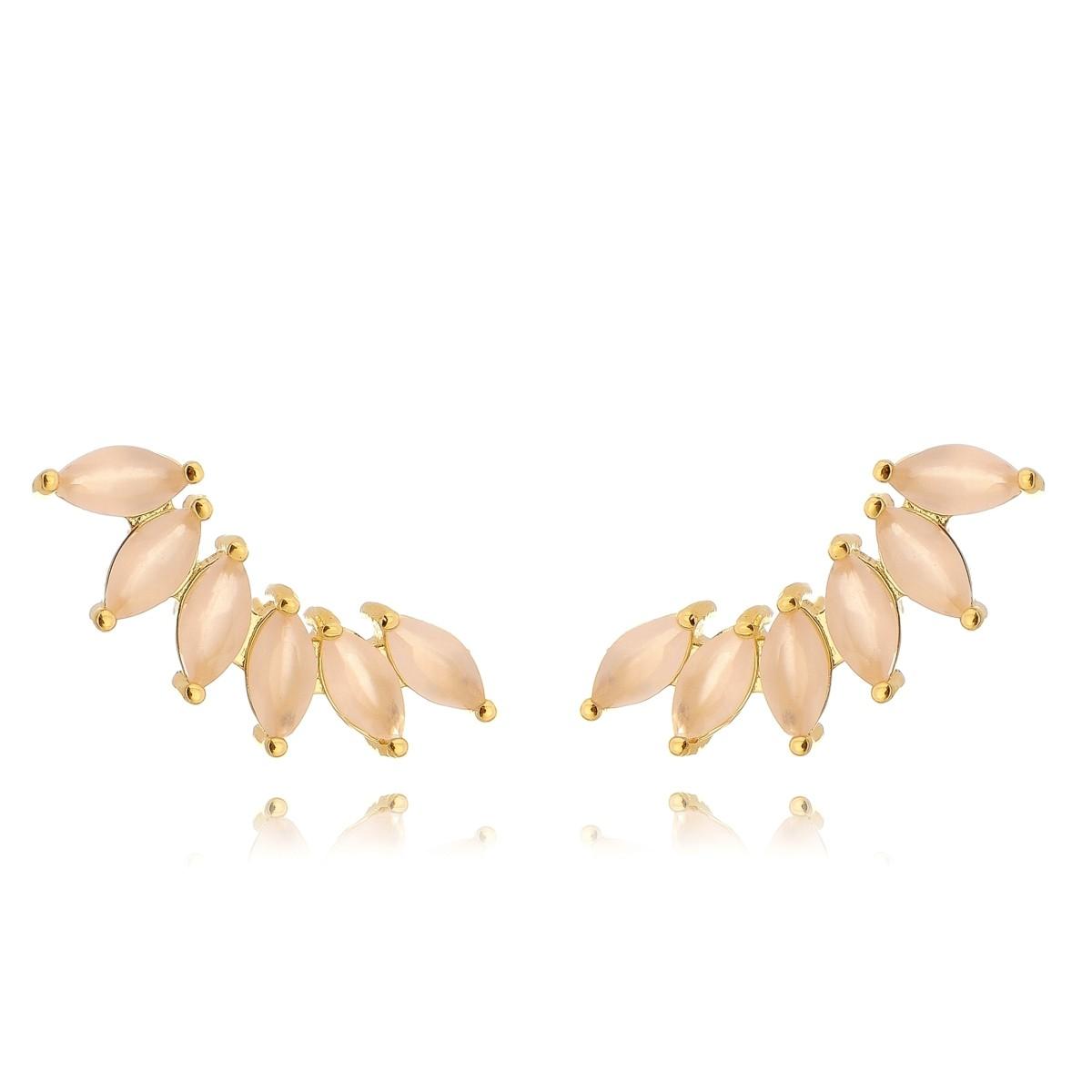 Ear Cuff Dourado de Zircônia Quartzo Rosa Leitoso Semijoia em Ouro 18K  - Soloyou