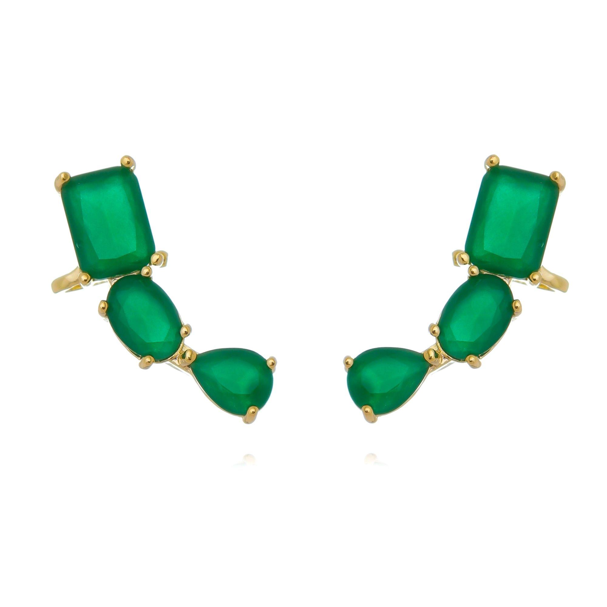 Ear Cuff Dourado Esmeralda com Garra Semijoia Ouro  - Soloyou