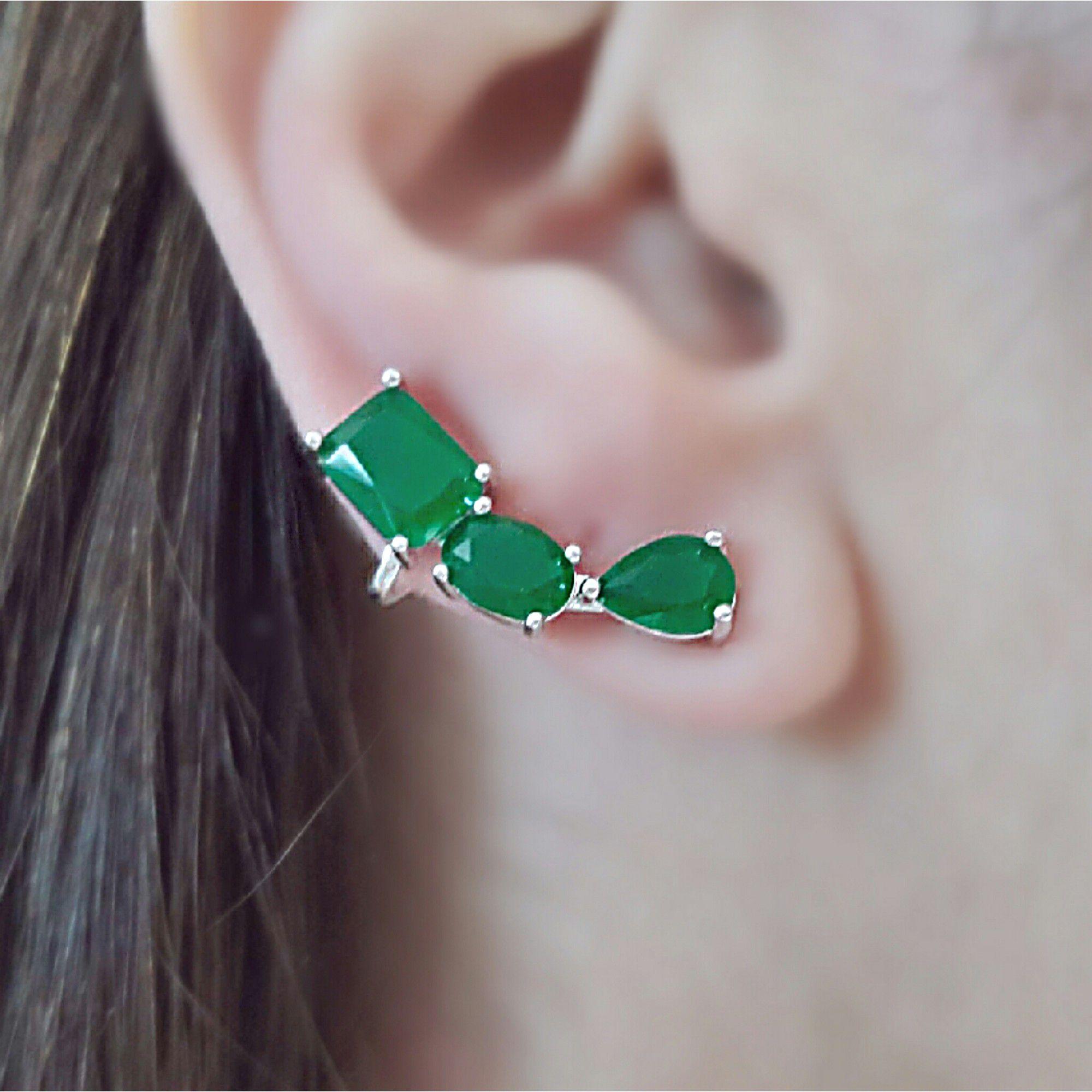 Ear Cuff Esmeralda Prata com Garra Semijoia Ródio Branco  - Soloyou