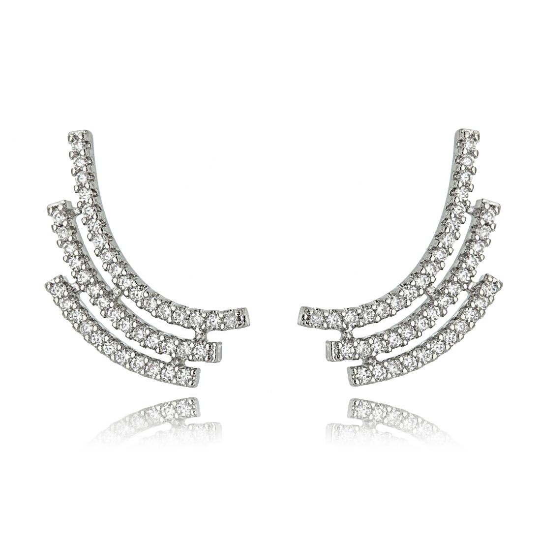 Ear Cuff Fashion de Zircônia Cristal Ródio Branco Semijoia Online  - Soloyou