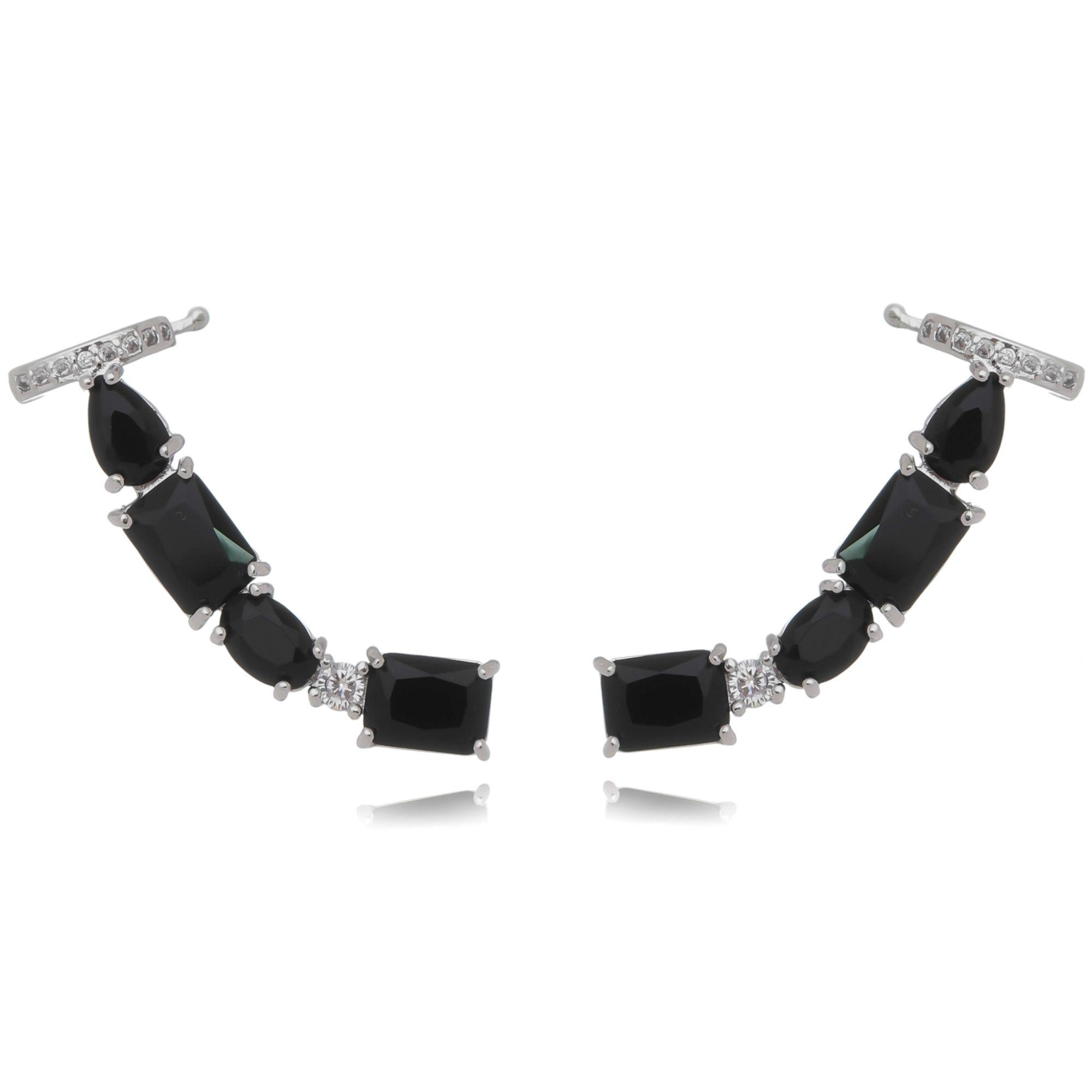 Ear Cuff Grande Preto com Piercing Semijoia da Moda Ródio Branco  - Soloyou