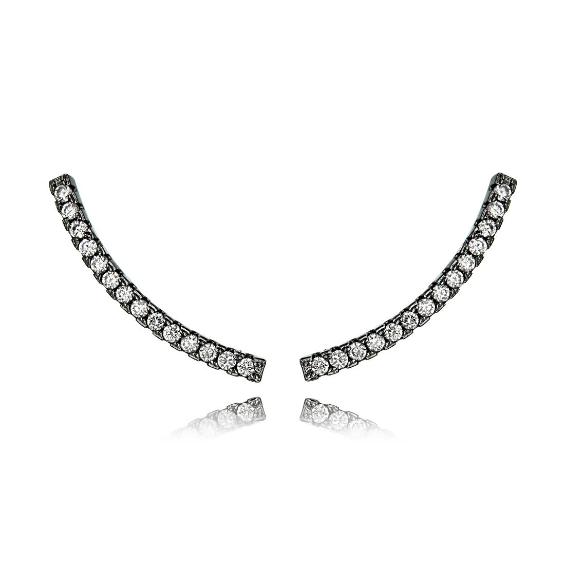 Ear Cuff Linha Zircônia Cristal Semijoia Fashion Ródio Negro  - Soloyou