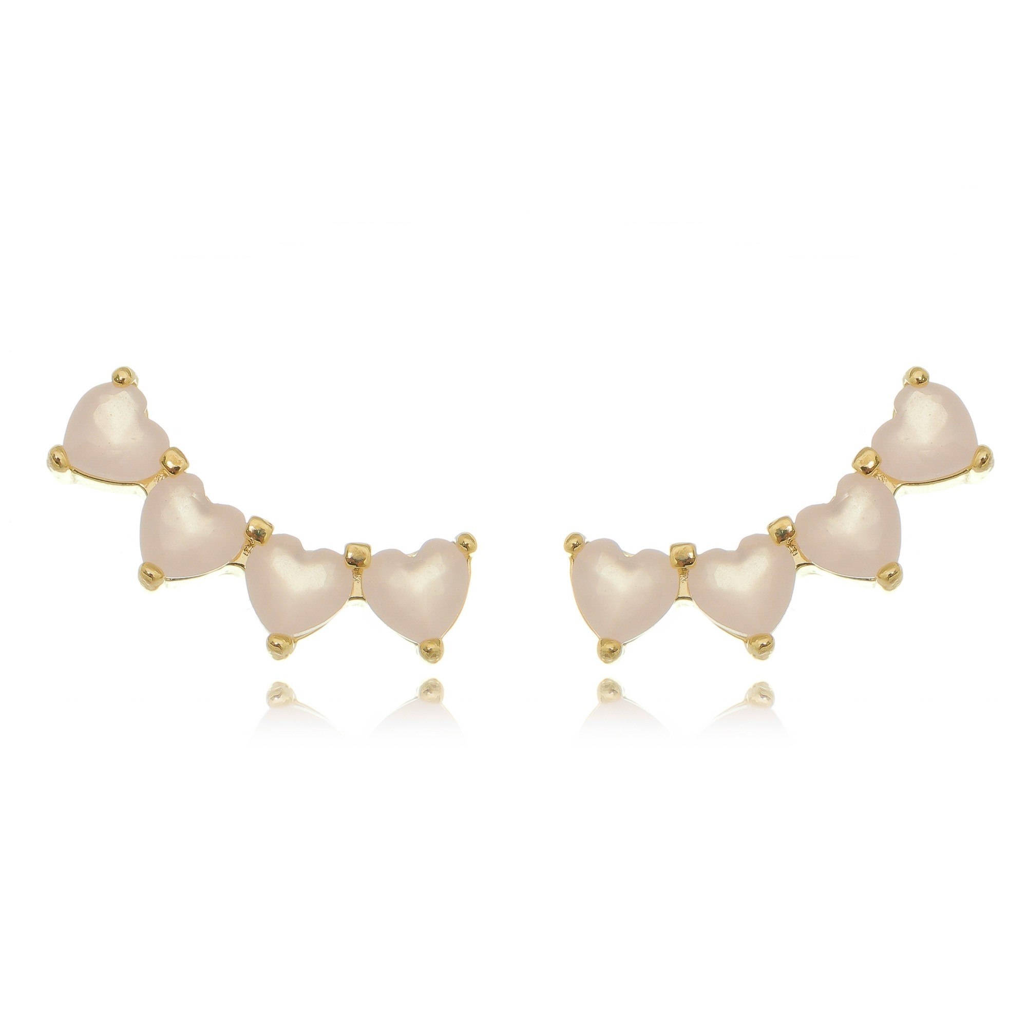 Ear Cuff Mini Corações Quartzo Rosa Semijoia Delicada em Ouro 18K  - Soloyou