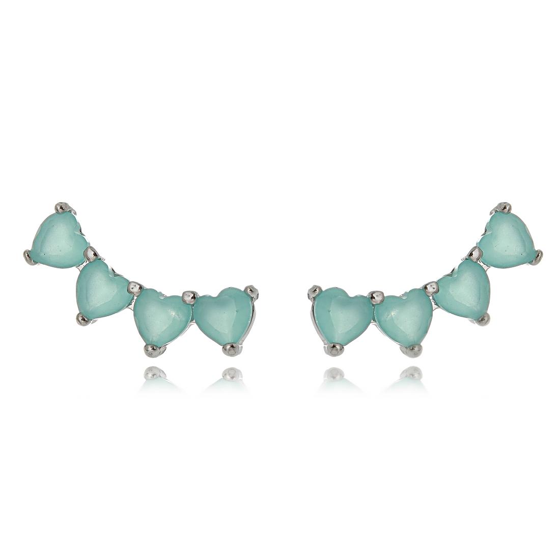 Ear Cuff Mini Turmalina de Corações Semijoia em Ródio Branco  - Soloyou