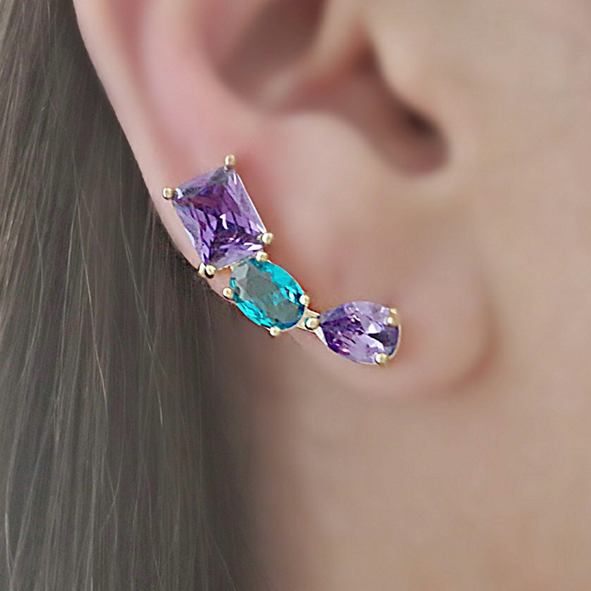 Ear Cuff Moda Colorido com Garra Semijoia Folheada Ouro  - Soloyou