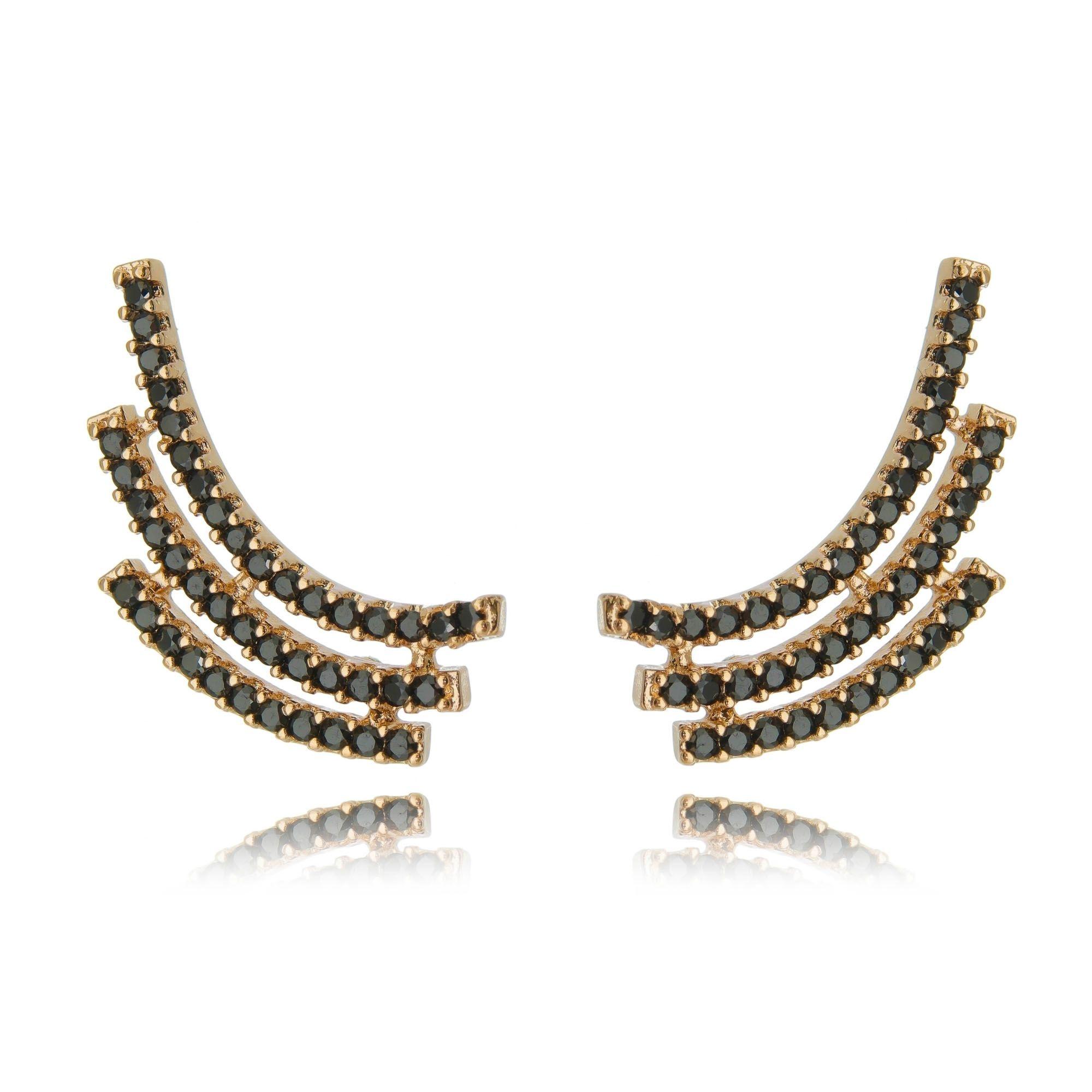 Ear Cuff Ouro Rosé com Zircônia Negra Semijoia Moderna  - Soloyou
