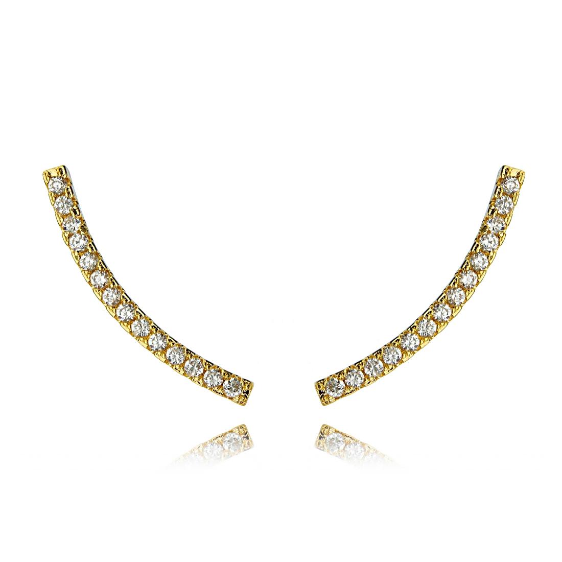 Ear Cuff Palito Dourado Zircônia Branca Semijoia da Moda Ouro  - Soloyou