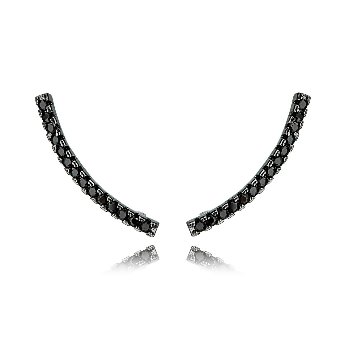 Ear Cuff Palito Semijoia Ródio Negro com Zircônia Negra  - Soloyou