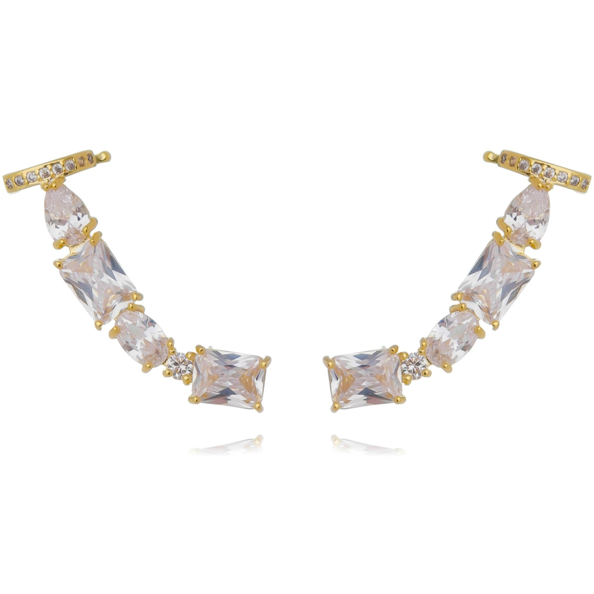 Ear Cuff para Festa Zircônia Branca com Piercing Semijoia Ouro  - Soloyou