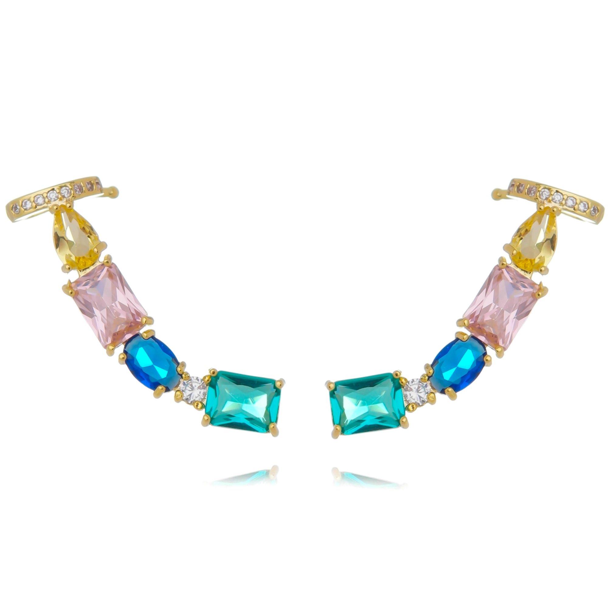 Ear Cuff Pedras Coloridas com Piercing Semijoia Banhado a Ouro  - Soloyou